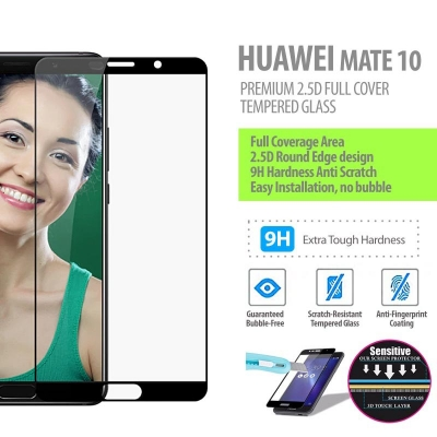^ Huawei Mate 10 - Premium 2.5D Full Cover Tempered Glass