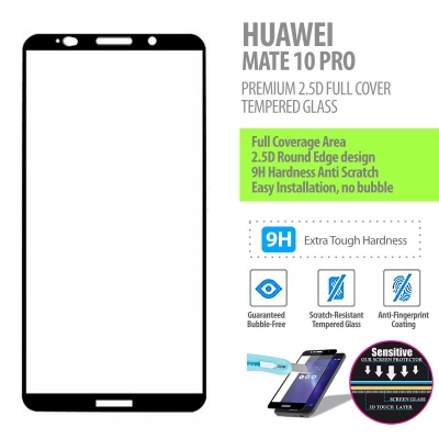 ^ Huawei Mate 10 Pro - Premium 2.5D Full Cover Tempered Glass