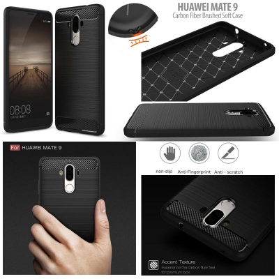 ^ Huawei Mate 9 - PREMIUM Carbon Fiber Brushed Soft Case }