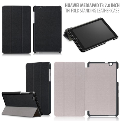 ^ Huawei Mediapad T3 7.0 Inch - Tri Fold Standing Leather Case }