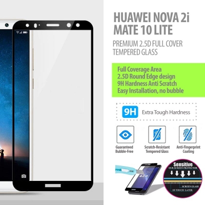 ^ Huawei Nova 2i - Mate 10 Lite - Premium 2.5D Full Cover Tempered Glass