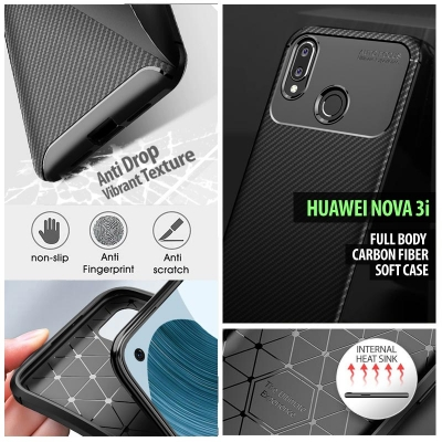^ Huawei Nova 3i - Full Body Carbon Fiber Soft Case