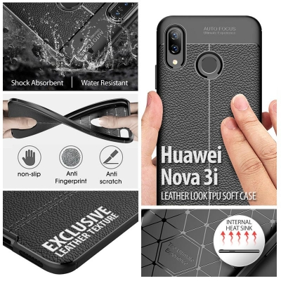 ^ Huawei Nova 3i - Leather Look TPU Soft Case