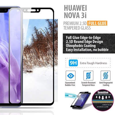 ^ Huawei Nova 3i - PREMIUM 2.5D Full Glue Tempered Glass