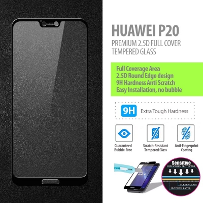 ^ Huawei P20 - Premium 2.5D Full Cover Tempered Glass