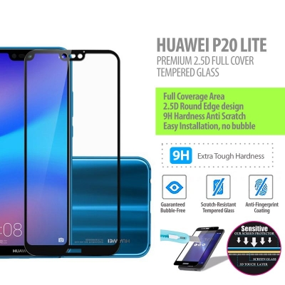 ^ Huawei P20 Lite - Premium 2.5D Full Cover Tempered Glass
