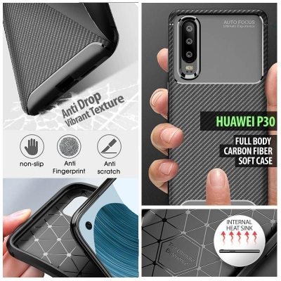^ Huawei P30 - Full Body Carbon Fiber Soft Case