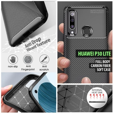 ^ Huawei P30 Lite - Full Body Carbon Fiber Soft Case