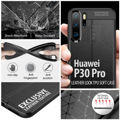 ^ Huawei P30 Pro - Leather Look TPU Soft Case