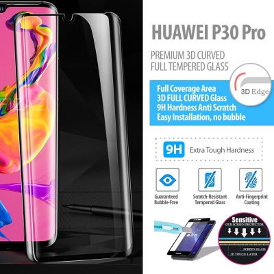 ^ Huawei P30 Pro - PREMIUM 3D Curved Full Tempered Glass