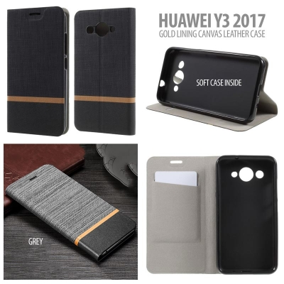 * Huawei Y3 2017 - Gold Lining Canvas Leather Case