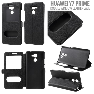 * Huawei Y7 2017 / Y7 Prime - Double Window Sparkle Leather Case }