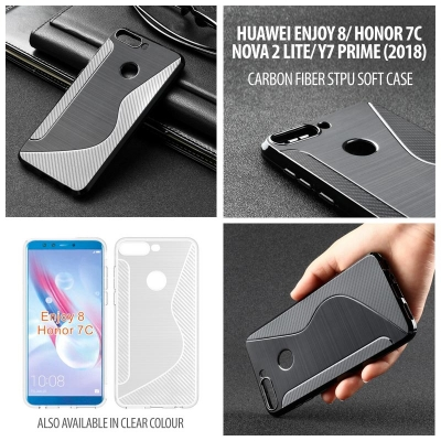 ^ Huawei Honor 7C / Y7 Prime 2018 / Nova 2 Lite / Enjoy 8 - Carbon Fiber STPU Soft Case