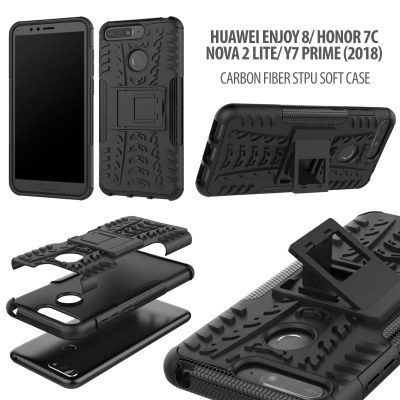 ^ Huawei Honor 7C / Y7 Prime 2018 / Nova 2 Lite / Enjoy 8 - Heavy Duty Rugged Armor Stand Case