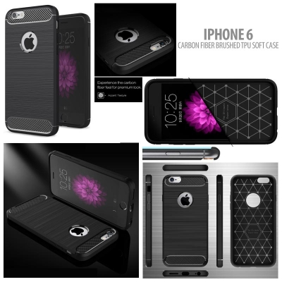 ^ iPhone 6 / iPhone 6S - PREMIUM Carbon Fiber Brushed Soft Case