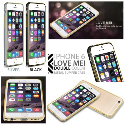 * iPhone 6 / iPhone 6S - Love Mei Double Color Metal Bumper Case