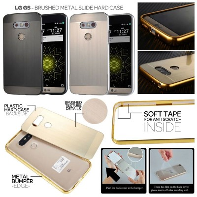 ^ LG G5 / G5 SE - Brushed Metal Slide Hard Case