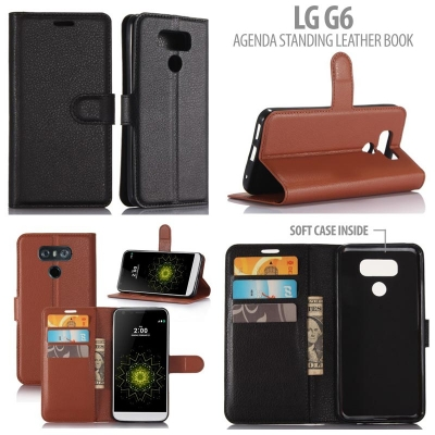* LG G6 - Agenda Standing Leather Book }