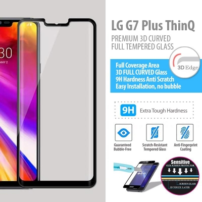 ^ LG G7 Plus ThinQ - PREMIUM 3D Curved Full Tempered Glass