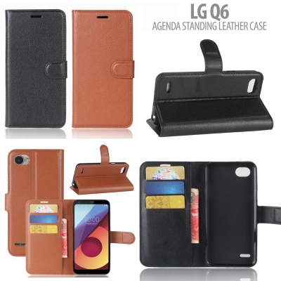 * LG Q6 - Agenda Standing Leather Case }
