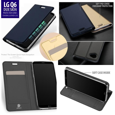 ^ LG Q6 - DUX Skin Protector Series Standing Leather Case }
