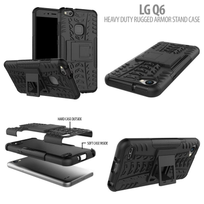 ^ LG Q6 - Heavy Duty Rugged Armor Stand Case }