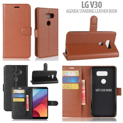 * LG V30 - Agenda Standing Leather Book }