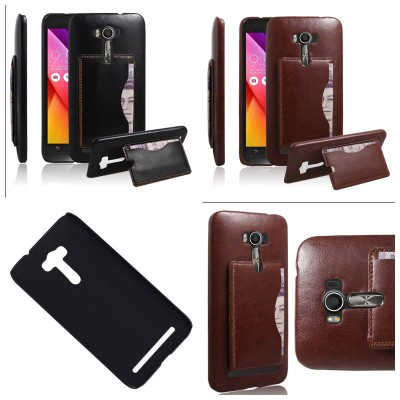 * Asus Zenfone 2 Laser 5.0 ZE500KL - Leather Textured Standing Hard Case with Card Slot