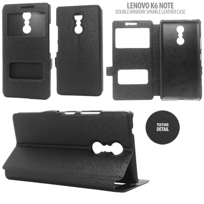 * Lenovo K6 Note - Double Window Sparkle Leather Case }
