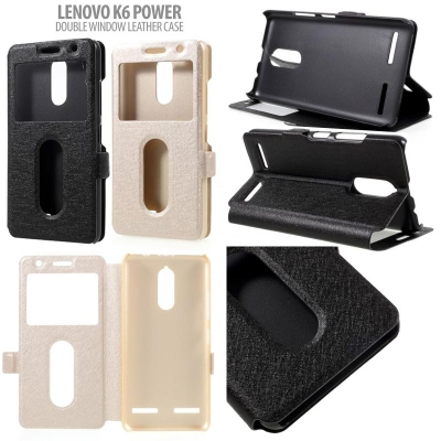 * Lenovo K6 Power - Double Window Leather Case }