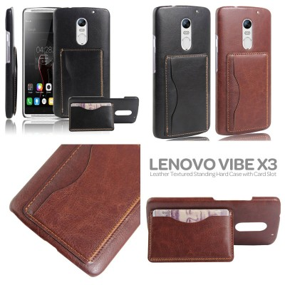 $ Lenovo Vibe X3 - Leather Textured Standing Hard Case with Card Slot