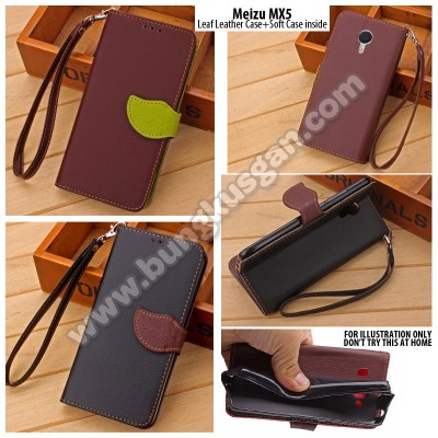 * Meizu MX5 - Leaf Leather Case with Soft Case inside