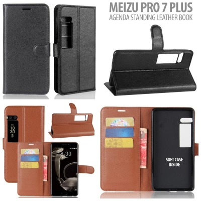 * Meizu Pro 7 Plus - Agenda Standing Leather Book }
