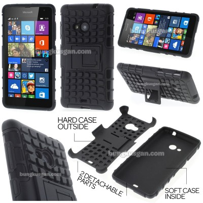 ^ Microsoft Lumia 535 - Heavy Duty Rugged Armor Stand Case }
