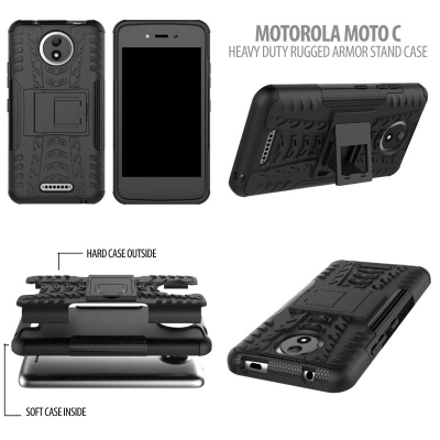 ^ Motorola Moto C - Heavy Duty Rugged Armor Stand Case }
