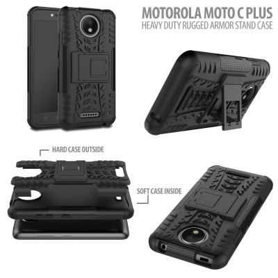 ^ Motorola Moto C Plus - Heavy Duty Rugged Armor Stand Case }