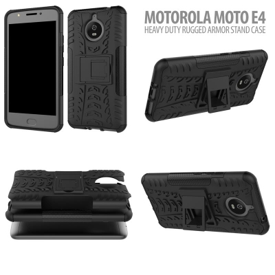 ^ Motorola Moto E4 - Heavy Duty Rugged Armor Stand Case }