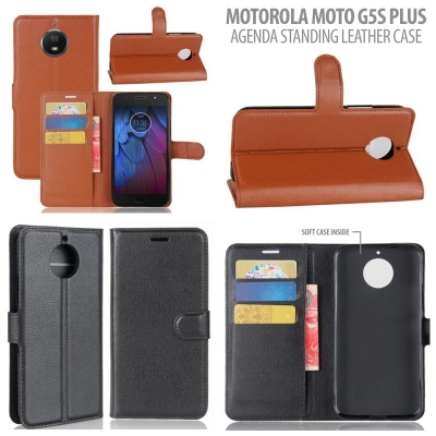 * Motorola Moto G5S Plus - Country Agenda Standing Leather Book }