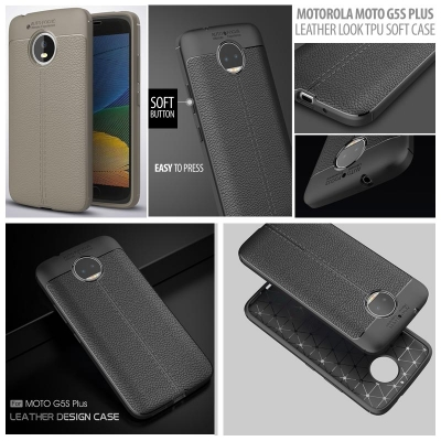 * Motorola Moto G5s Plus - Leather Look TPU Soft Case }