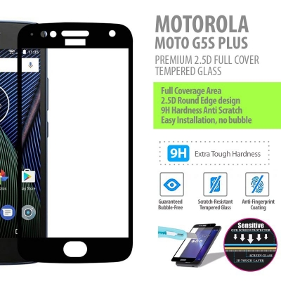 ^ Motorola Moto G5s Plus - PREMIUM 2.5D Full Cover Tempered Glass