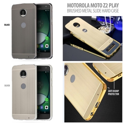 ^ Motorola Moto Z2 Play - Brushed Metal Slide Hard Case }
