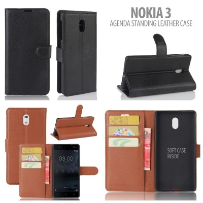 * Nokia 3 - Agenda Standing Leather Book }