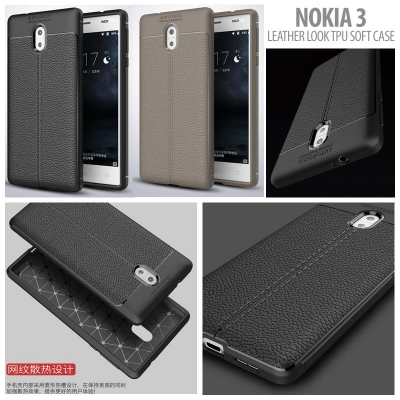 ^ Nokia 3 - Leather Look TPU Soft Case }