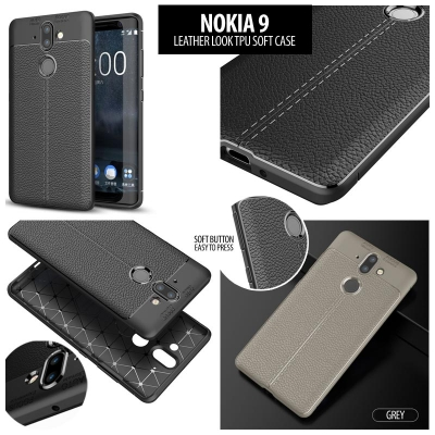 ^ Nokia 9 - Leather Look TPU Soft Case }