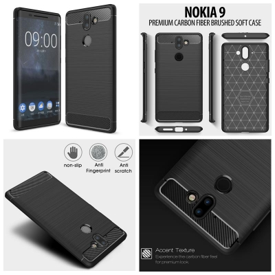 ^ Nokia 9 - PREMIUM Carbon Fiber Brushed Soft Case }