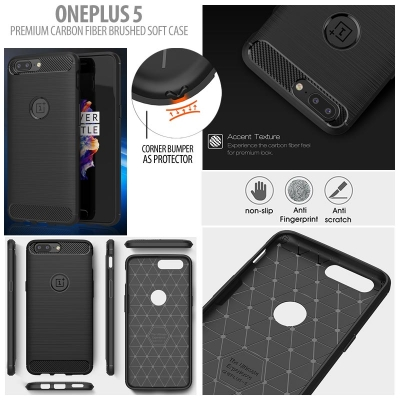^ Oneplus 5 - PREMIUM Carbon Fiber Brushed Soft Case }