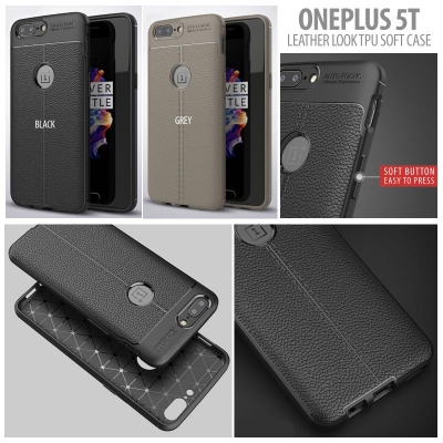 ^ Oneplus 5T - Leather Look TPU Soft Case }