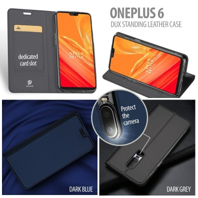 ^ Oneplus 6 - Dux Skin Protector Series Standing Leather Case