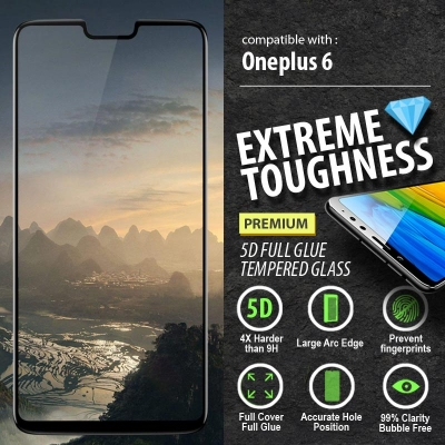 ^ Oneplus 6 - PREMIUM 5D Full Glue Tempered Glass