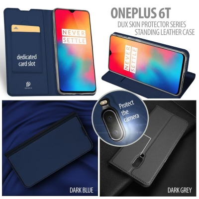 ^ Oneplus 6T - Dux Skin Protector Series Standing Leather Case